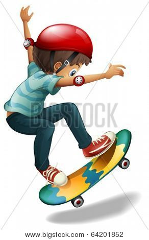 Illustration of a little man skateboarding on a white background