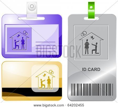 Home affiance. Vector id cards.
