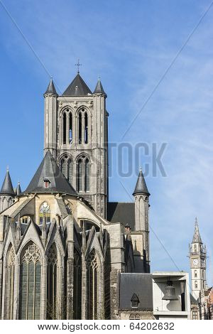 St. Nicolas Church, Bell And Postal Tower In Ghent, Belgium.