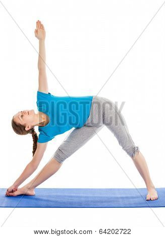Yoga - young beautiful slender woman  yoga instructor doing Triangle asana pose (utthita trikonasana) in ashtanga vinyasa style exercise isolated on white background