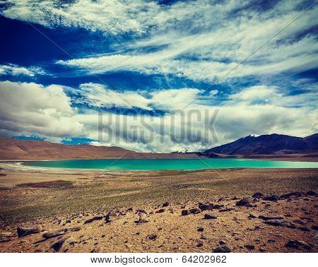 Vintage retro effect filtered hipster style travel image of Himalayan lake Kyagar Tso, Ladakh, India