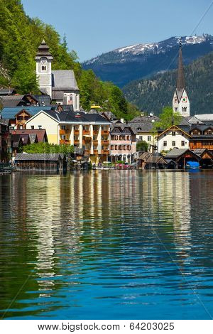 Austrian tourist destination Hallstatt village on  Hallst���¤tter See in Austrian alps. Salzkammergut region, Austria
