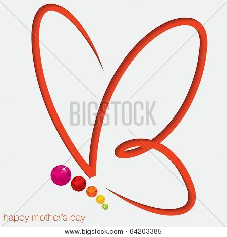 Cut Out Butterfly Card With Gems In Vector Format.