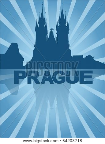 Tyn Church Prague reflected with blue sunburst vector illustration
