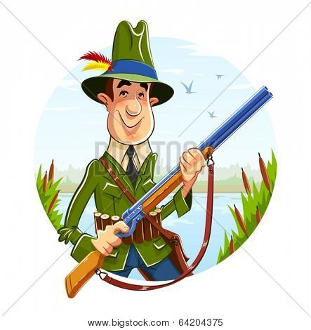 Hunter man with rifle on river background. Eps10 vector illustration. Isolated on white background