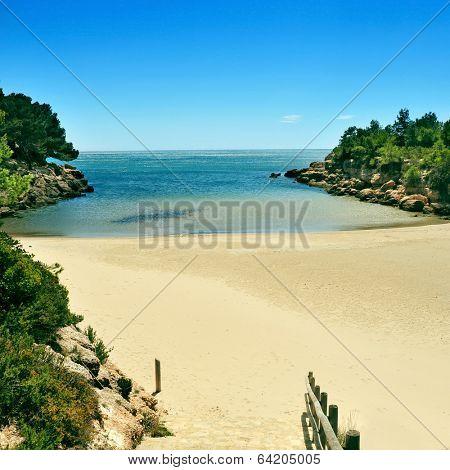 a view of Cala Calafato beach in Ametlla de Mar, Spain