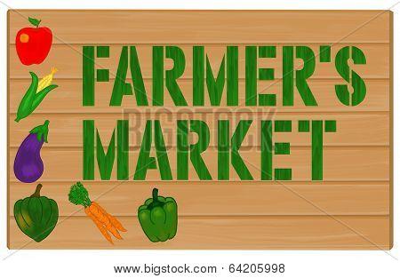Farmer's Market Sign Painted on Wood Illustration