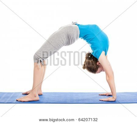 Yoga - young beautiful slender woman yoga instructor doing Upward Bow Pose (intense backbend) (urdhva dhanurasana) asana exercise isolated on white background