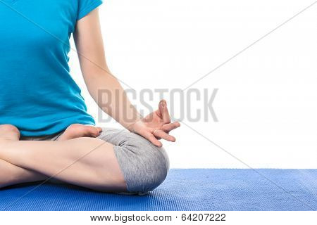 Close up of yoga Padmasana (Lotus pose) cross legged position for meditation with Chin Mudra - psychic gesture of consciousness