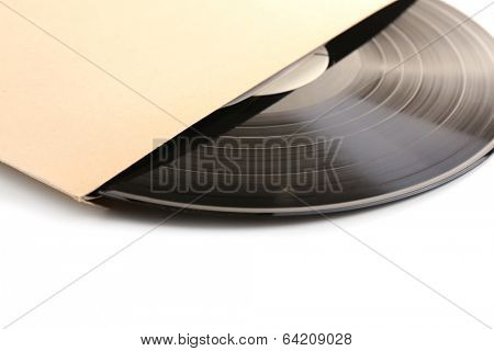 Old vinyl record in paper case, isolated on white