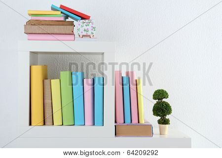 Books on white shelves in room