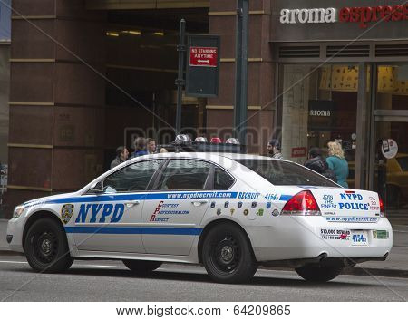 NYPD recruit car in midtown Manhattan
