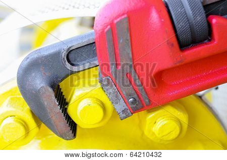 Pipe wrench or plier wrench, Tools equipment for use in heavy job