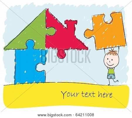 Boy Solving Puzzle House