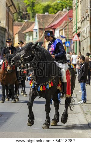 Horseman On Black Dray-horse