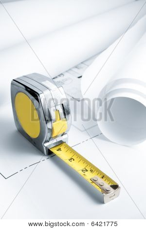 Blue Prints With Measuring Tape