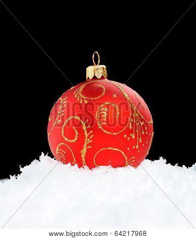 Red Christmas Ball On Black