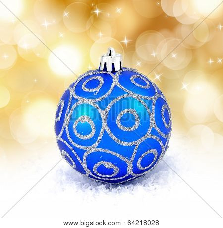Blue Christmas Ball Isolated On Golden Background