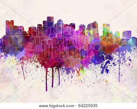Boston Skyline In Watercolor Background
