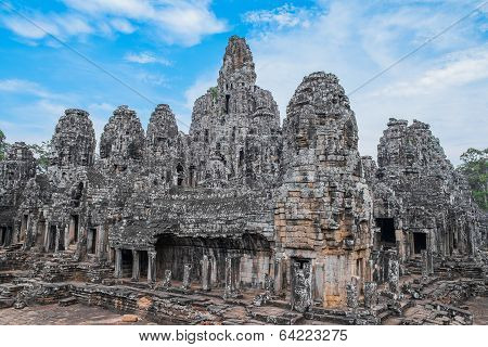 Bayon Temple With Stone Heads