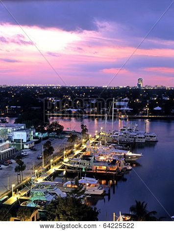 Marina at dusk, Fort Lauderdale, USA.