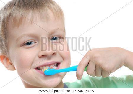 Kid Cleaning Teeth