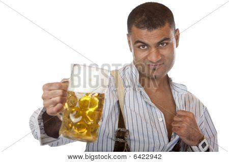 Sexy Attractive Man With Lederhose Holds Oktoberfest Beer Stein
