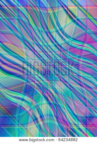 Wavy interlacing strips on iridescent background