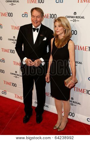 NEW YORK-APR 29: Talk show host Charlie Rose (L) &Amanda Burden attend the Time 100 Gala for the Most Influential People at Frederick P. Rose Hall at Lincoln Center on April 29, 2014 in New York City.