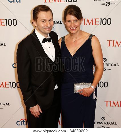 NEW YORK-APR 29: Dr. David Sinclair (L) and guest attend the Time 100 Gala for the  Most Influential People in the World at Frederick P. Rose Hall at Lincoln Center on April 29, 2014 in New York City.