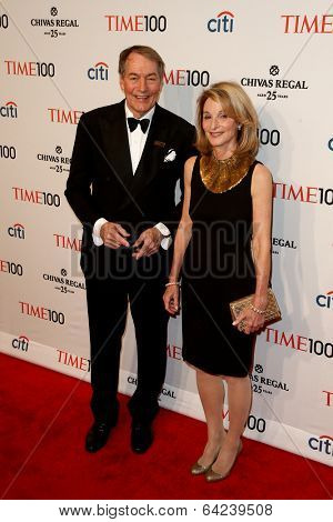 NEW YORK-APR 29: Talk show host Charlie Rose (L) & Amanda Burden attend Time 100 Gala for the Most Influential People at Frederick P. Rose Hall at Lincoln Center on April 29, 2014 in New York City.