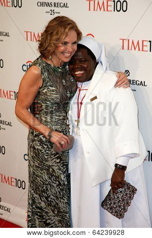 NEW YORK-APR 29: Sister Rosemary Nyirumbe (R) and Katie Couric attend the Time 100 Gala for the  Most Influential People at Frederick P. Rose Hall at Lincoln Center on April 29, 2014 in New York City.