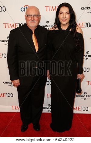 NEW YORK-APR 29: Artist Marina Abramovic  (R) and Sean Kelly attend the Time 100 Gala for the Most Influential People at Frederick P. Rose Hall at Lincoln Center on April 29, 2014 in New York City.