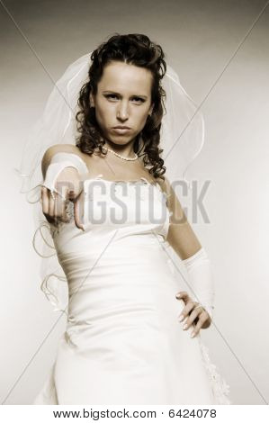 Serious Bride Pointing At You