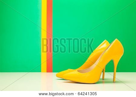 Pair Of Yellow High Heels