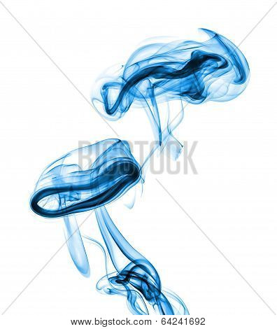 blue abstract smoke isolated on white background