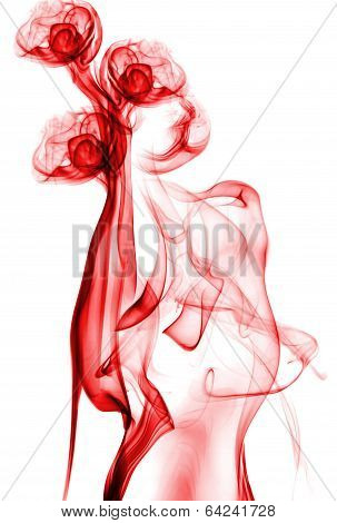 red abstract smoke isolated on white background