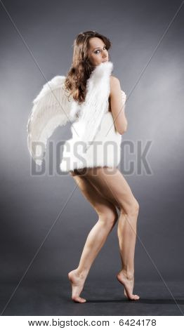 Sexy Angel In White Furs