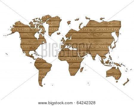 World Map In Wood