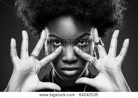 Black Woman With Afro Hair Style