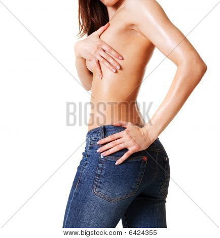 Sexy Woman In Blue Jeans
