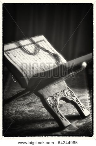 Close up of holy Koran - vintage photo look