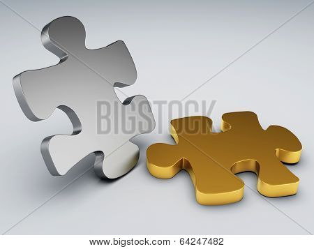 Metal And Gold Puzzle Pieces
