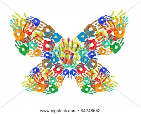 Colorful handprints in shape of butterfly isolated on white
