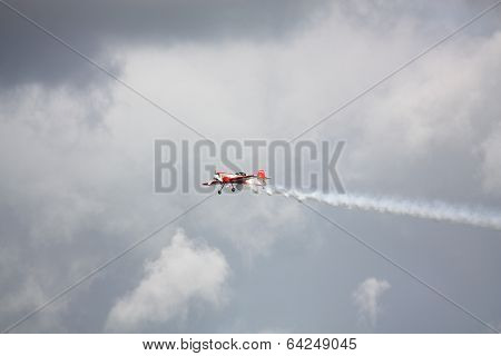 Riga, Latvia - August 20: Pilot From Russia Svetlana Kapanina On Su-26 Participating In Riga Fai Eli