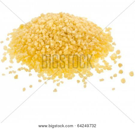 couscous pile close up isolated on white background