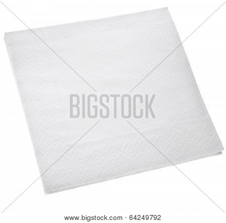 White Square paper napkin  isolated on white background