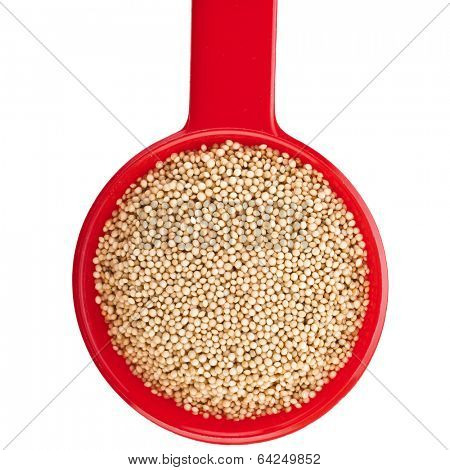 Amaranth gluten-free, grain cereal in scoop top view close up isolated on white background