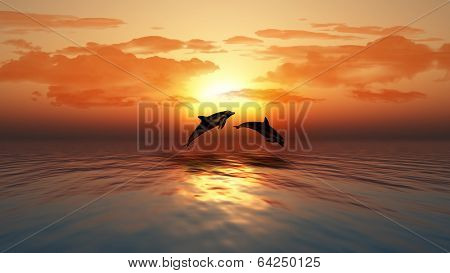 3D render of a sunset over an ocean with dolphins jumping