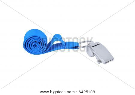 Metal whistle with blue lanyard